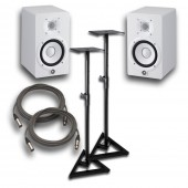 "Yamaha HS7 White Powered Studio 7"" Monitor Pair with Stands and Cables"